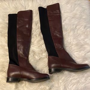 Genuine leather knee boots